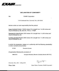 Deklaracja zgodności noży powietrznych