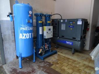 Kompletny system wytwornicy azotu ze sprężarką śrubową