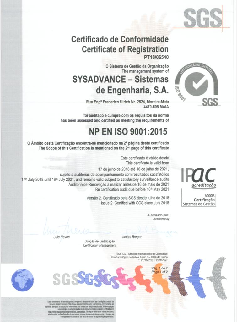 Certyfikaty generatorów azotu Sysadvance