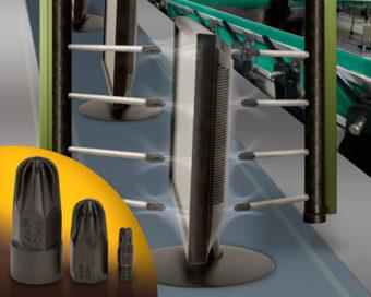 Dysze powietrzne Super z tworzywa PEEK dostarczają dużej siły odmuchu przy jednoczesnym zapewnieniu ochrony w razie kontaktu dyszy z innymi powierzchniami.