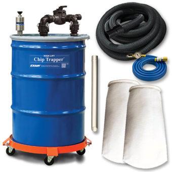 Filtr chłodziwa jest dostarczany w zestawie z akcesoriami takimi jak: worki filtracyjne, wózek do beczki, przewód zasilający, wąż ssawny, wymienne końcówki