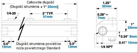 Wymiary noża powietrznego Standard ze stali nierdzewnej