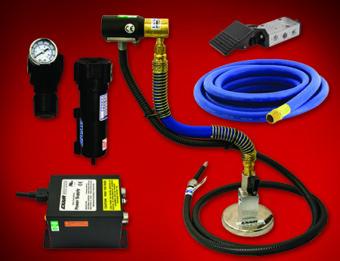 Strumienicę jonizującą można połączyć z elastycznym wężem montażowym oraz magnetyczną bazą montażową